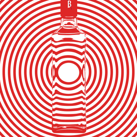 Creative design for Beefeater bottle with red stripes