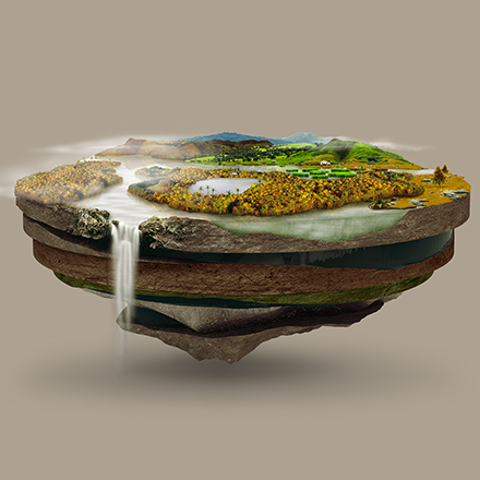 Graphic work of a magical nature with a waterfall for Nespresso