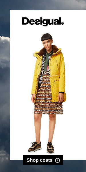 Banner ad for coats for Desigual weather triggered advertising campaign