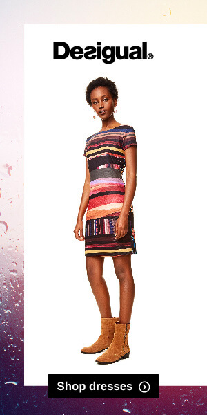 Desigual graphic ad with shop dresses button